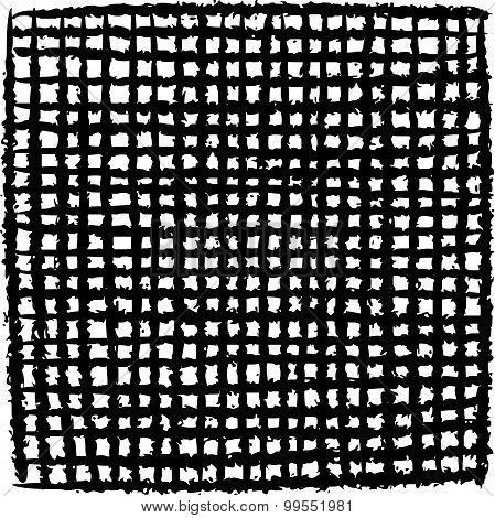 Irregular Black Stripe Grid Pattern Over White