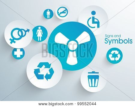 Collection of different shiny signs and symbols on blue background.