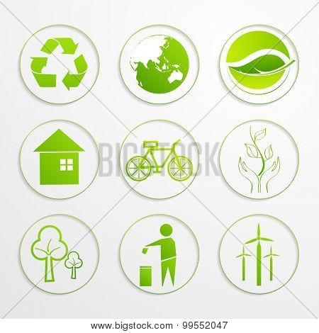 Set of creative ecological signs and symbols on gray background.
