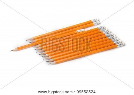Yellow-coated Graphite Pencils Isolated
