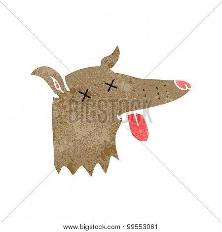 retro cartoon dead dog face