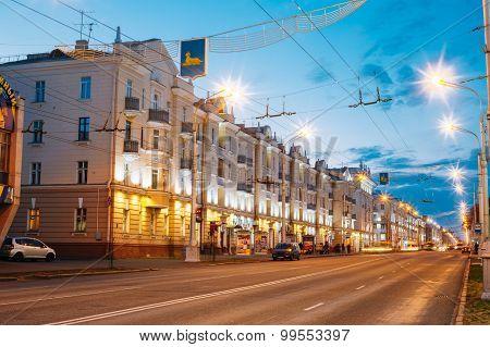 Speed Traffic - Light Trails On Lenin Avenue In Gomel, Belarus.