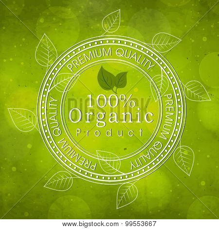 Creative rubber stamp with leaves on shiny green background for Organic Products.