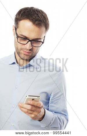 life style, business  and people concept: Young business man using mobile phone.