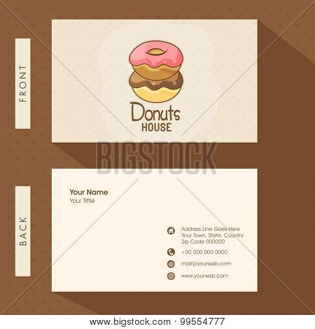 Creative business card or visiting card design for Donuts House with front and back presentation.