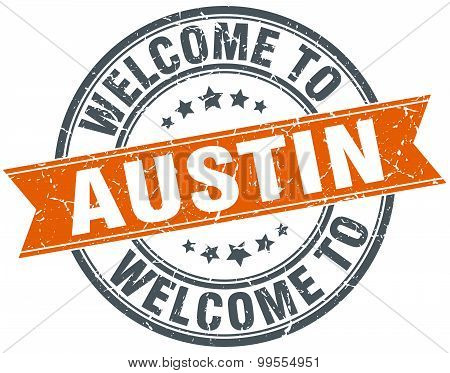 Welcome To Austin Orange Round Ribbon Stamp
