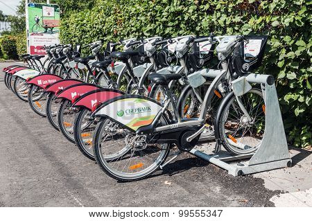 Urban Bike Rental Station In The Moscow