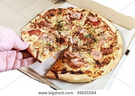 Pizza With Bacon In Box