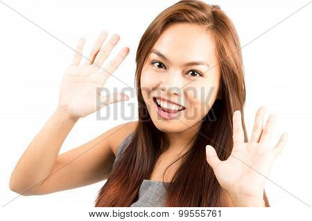 Portrait Girl Asian Style Two Hand Wave Greeting