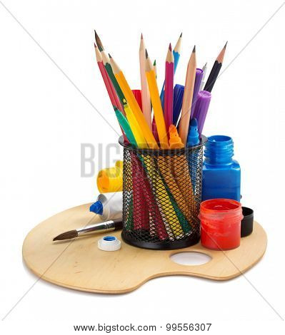 paint supplies and holder basket on white background