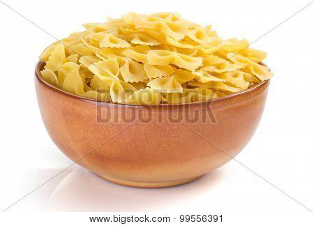farfalle pasta isolated on white background