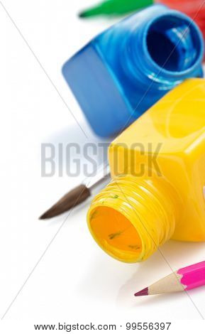 paint and bottle isolated on white background