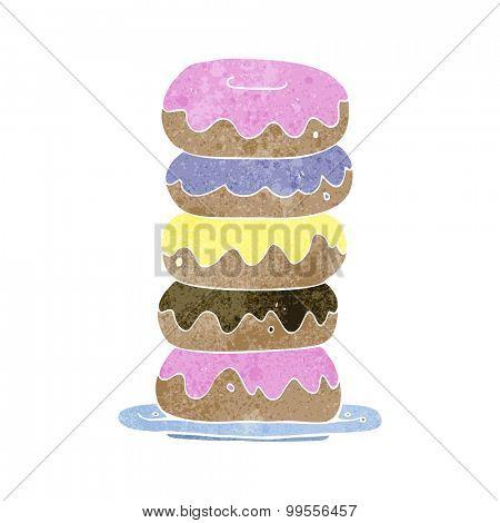 retro cartoon plate of donuts