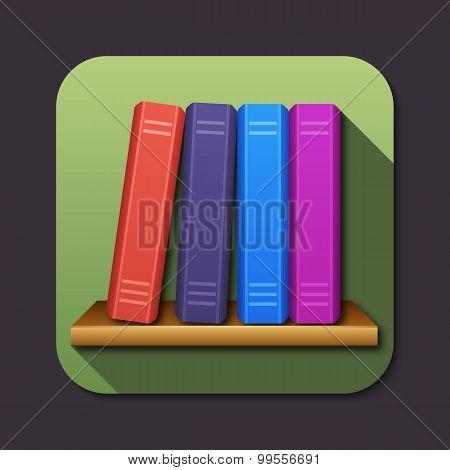 Vector Bookshelf Icon With Long Shadow