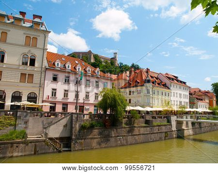 Ljubljana city centre with river and castle