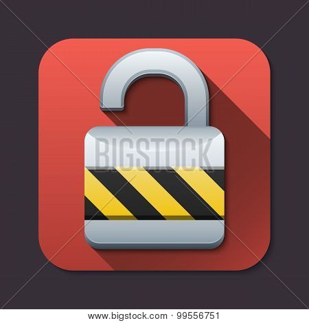 Vector Open Padlock Icon With Long Shadow