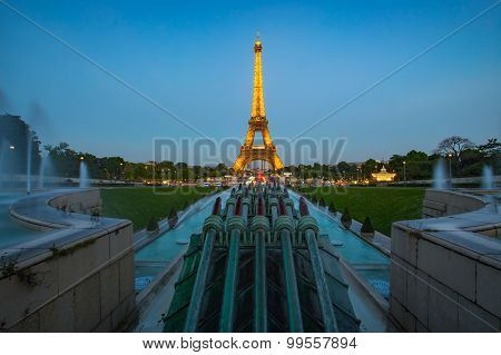 Twilight View Of Eiffel Tower In Paris, France