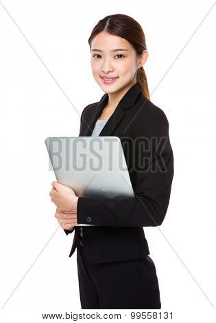 Businesswoman hold with laptop computer
