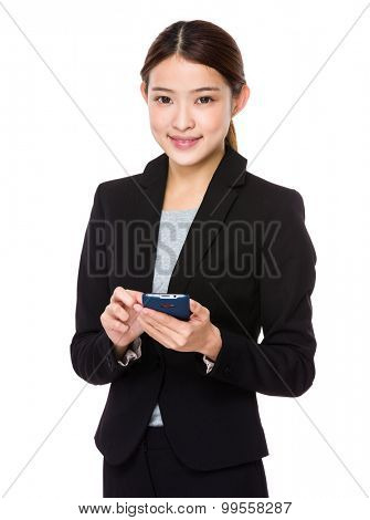 Young businesswoman use of the mobile phone