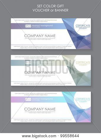Gift voucher template modern pattern. Pricing Table Template with Three Plan Type. Graphic Design on Gray Background. Three tariffs. interface for the site. Vector banner for web app