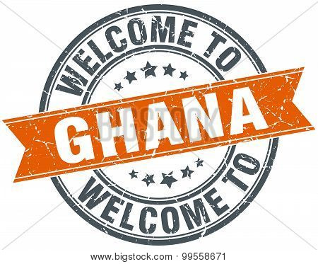 Welcome To Ghana Orange Round Ribbon Stamp