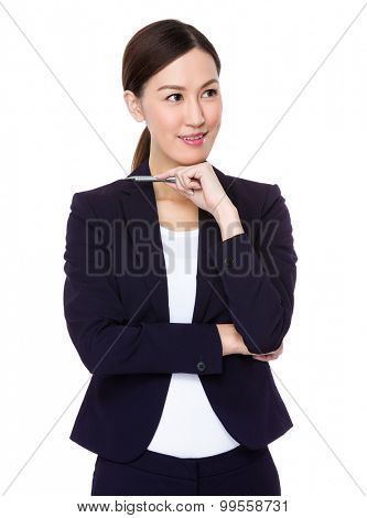 Asian young businesswoman think of the idea