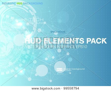 Abstract technology vector background. HUD UI  communication concept banner in blue background