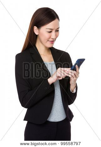 Businesswoman use of the cellphone