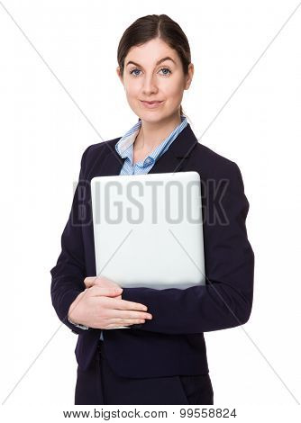 Brunette businesswoman hold with laptop computer