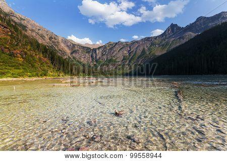 Avalanche  lake in Glacier National Park, Montana, USA