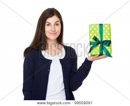 Brunette woman hold with gift box