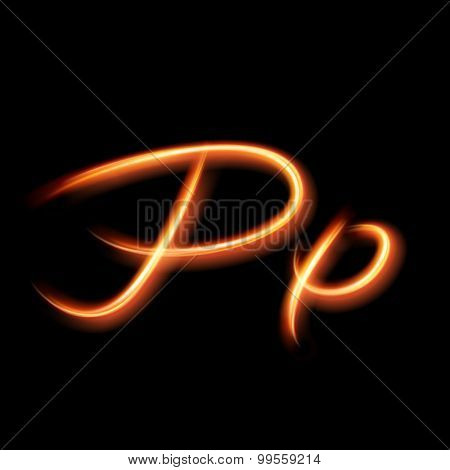 Glowing light letter P. Hand lighting painting