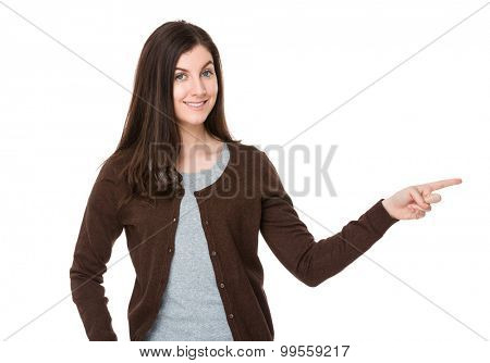Brunette woman with finger point up