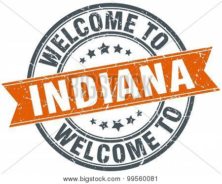 Welcome To Indiana Orange Round Ribbon Stamp