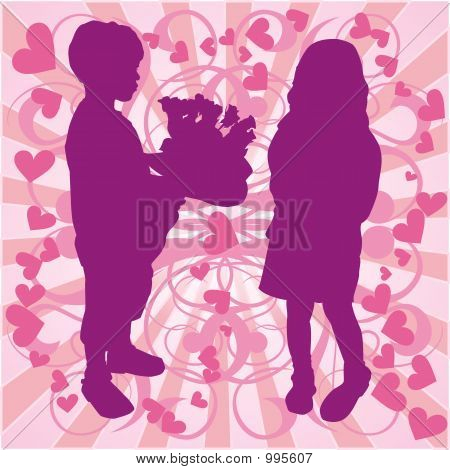 Silhouette Boy & Girl, Love Illustration