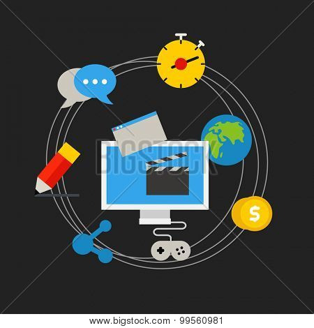 Communication technology concept. Flat media application icons
