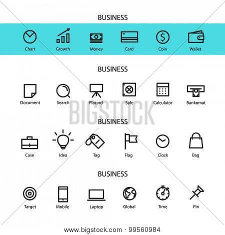 Different line style icons set. Business