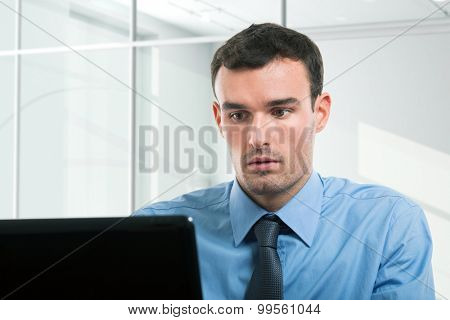 Portrait of a businessman using his personal computer