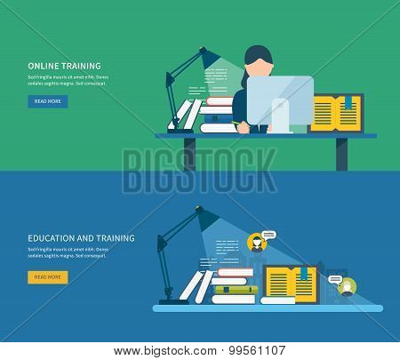 Flat design modern vector illustration icons set of global education, online training courses, staff