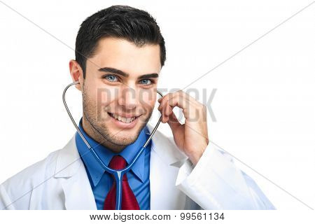 Smiling young doctor isolated on white