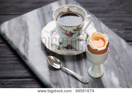 Boiled eggs and coffee in retro style