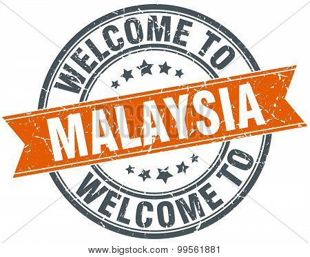 Welcome To Malaysia Orange Round Ribbon Stamp