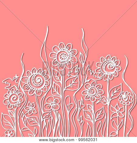 Vector watercolor paint abstract floral design