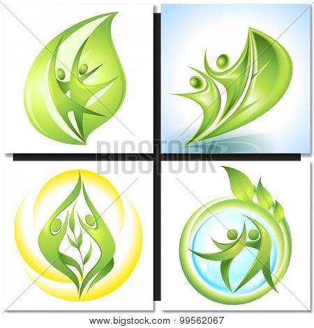 Eco icon green dancers with tree, nature concept