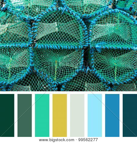 Stacked lobster pots in a colour palette with complimentary colour swatches.