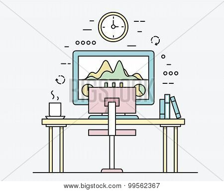 Linear Flat Design Of Modern Workplace With Desktop Computer, Developer Work Place And Equipment