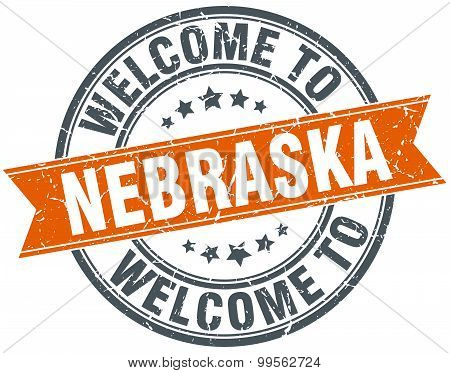 Welcome To Nebraska Orange Round Ribbon Stamp