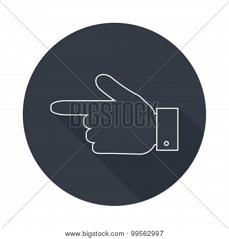 Hand Pointer  Silhouette Icon.