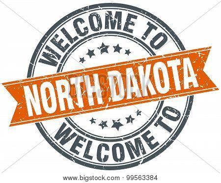 Welcome To North Dakota Orange Round Ribbon Stamp