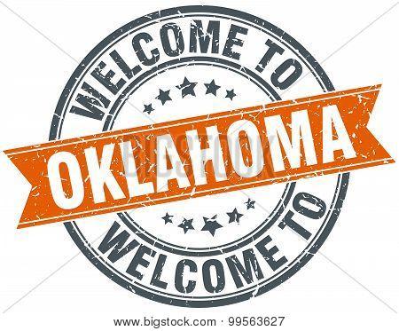 Welcome To Oklahoma Orange Round Ribbon Stamp